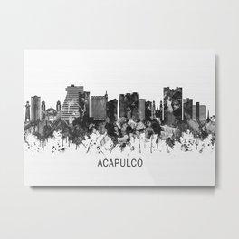 Acapulco Mexico Skyline BW Metal Print