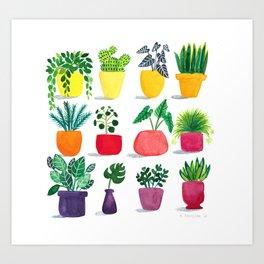 Happy Houseplants  Art Print