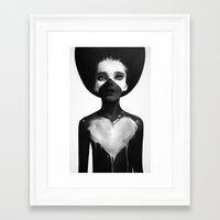 hello Framed Art Prints featuring Hold On by Ruben Ireland
