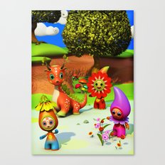 The Flowerdroplets and the Leafdragon Canvas Print