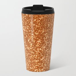 Bright Rose Pink Gold Glitter Travel Mug