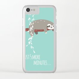 Sloth card - just 5 more minutes Clear iPhone Case