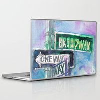 broadway Laptop & iPad Skins featuring Broadway Sign by Dorrie Rifkin Watercolors