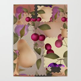 Old scraps of fabric with fruit . Poster
