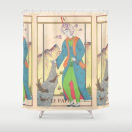 Tarot Card-The Pope-The Hierophant-Le Pape Shower Curtain