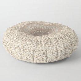 Unique Texture Taupe Burlap Mandala Design Floor Pillow