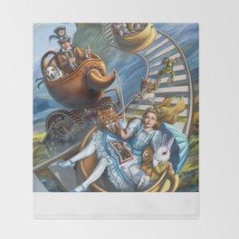 Steampunk Alice in Wonderland Teacups Throw Blanket