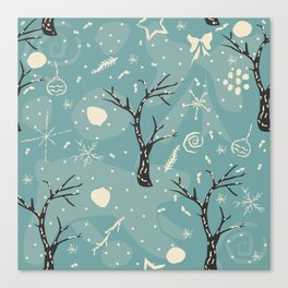 Seamless Winter pattern with hand drawn bear, spruce, leafs, snowflakes Canvas Print