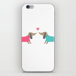 Cute dog lovers in love with heart iPhone Skin