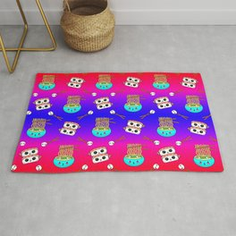 Cute funny Kawaii chibi little blue bowl ramen noodles, happy cheerful sushi with shrimp on top, rice balls and chopsticks blue pink and red pattern design. Nursery decor. Rug