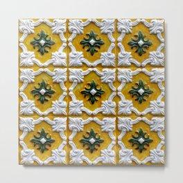 Portuguese tiles pattern yellow Metal Print
