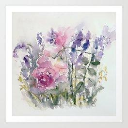 Rosees and Lavender Art Print