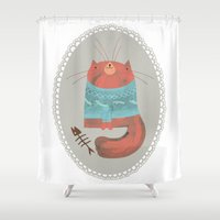 cat coquillette Shower Curtains featuring cat by yohan sacre