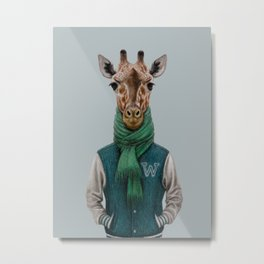 the giraffe in jacket. Metal Print