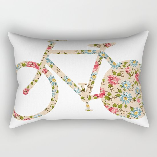 Whimsical cute girly floral retro bicycle Rectangular Pillow