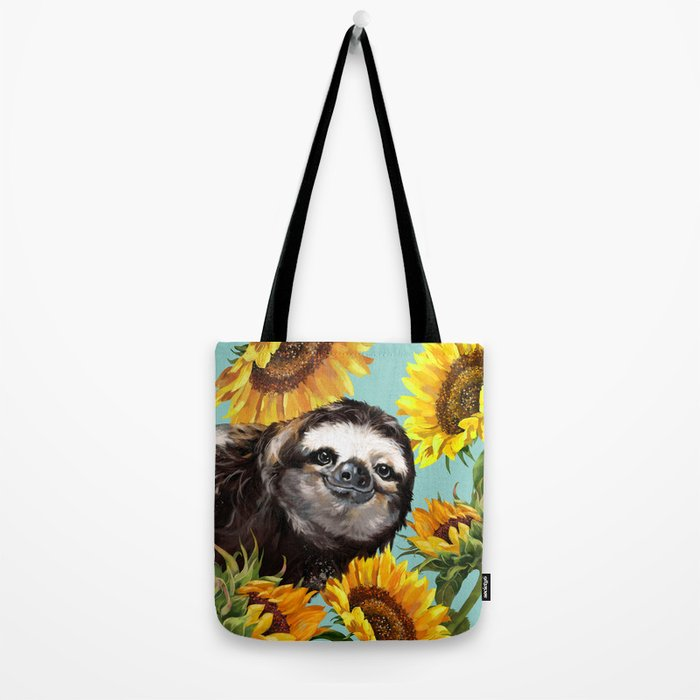 Sloth with Sunflowers Tote Bag