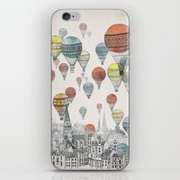 jurassic park iPhone & iPod Skins featuring Voyages over Edinburgh by David Fleck