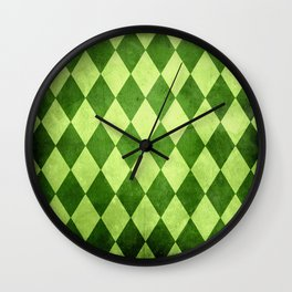 Green Harlequin Grunge Wall Clock