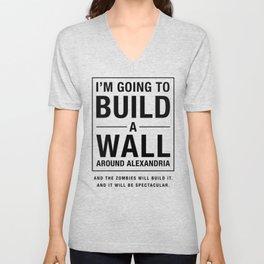 Build a Wall - Walking Dead Trump Parody Unisex V-Neck