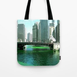 Chicago River on St. Patrick's Day #Chicago Tote Bag