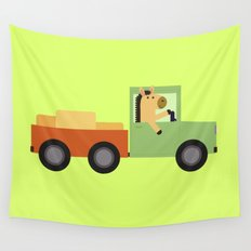 Horse on Truck Wall Tapestry