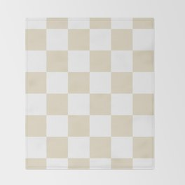 Large Checkered - White and Pearl Brown Throw Blanket