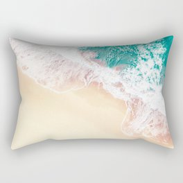 Teal and Peachy   Aerial Beach Print Rectangular Pillow