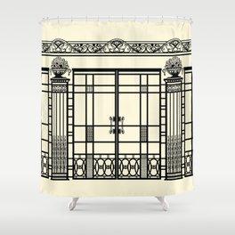 ART DECO, ART NOUVEAU IRONWORK: Black and Cream Shower Curtain