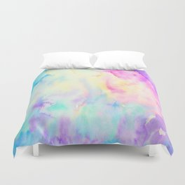 Watercolor Abstract Landscape Blue and Purple Duvet Cover