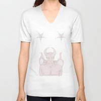 satan V-neck T-shirts featuring Red Satan by instantgaram