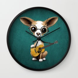 Chihuahua Puppy Dog Playing Old Acoustic Guitar Teal Wall Clock