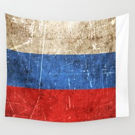 Vintage Aged and Scratched Russian Flag Wall Tapestry