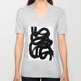 Swirl Black & White Minimalist Abstract Mid century Ink Art Dark Brush Strokes Unisex V-Neck