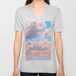 Beautiful Pink Cotton Candy Clouds Against Baby Blue Sky Fairytale Magical Sky Unisex V-Neck