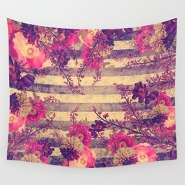 Pink and Gray Tropical Botanical Stripes Wall Tapestry