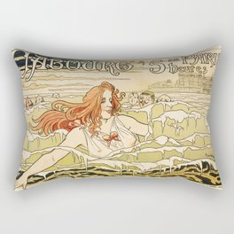 Cabourg Paris Beach art nouveau travel ad Rectangular Pillow