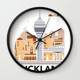 City Illustrations (Auckland, New Zealand) Wall Clock