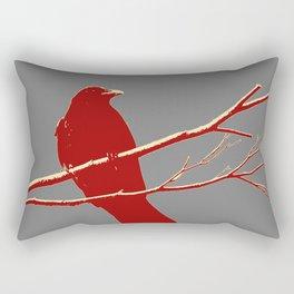 Burgundy and Grey Crow Bird Resting  Rectangular Pillow
