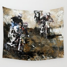 """""""Dare to Race"""" Motocross Dirt-Bike Racers Wall Tapestry"""