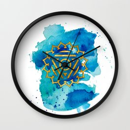 Throat Chakra Watercolour Painting Wall Clock