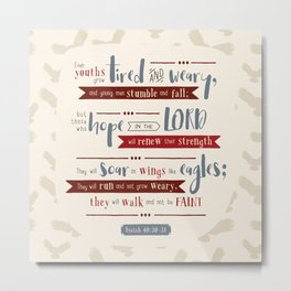 """""""Hope in the Lord"""" Hand-Lettered Bible Verse Metal Print"""