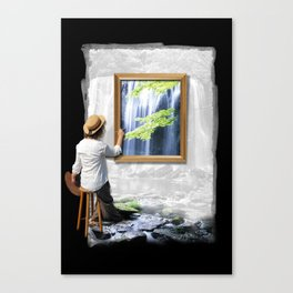 Artist women painting nature with waterfall Canvas Print
