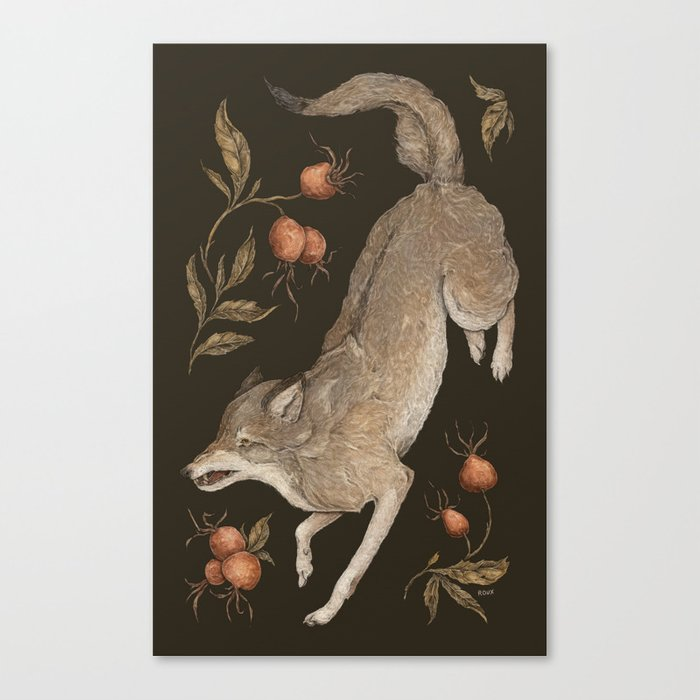 The Wolf and Rose Hips Canvas Print