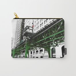 Chicago photography - Chicago EL art print in green black and white Carry-All Pouch
