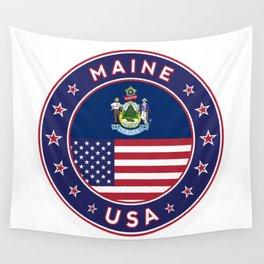 Maine, Maine t-shirt, Maine sticker, circle, Maine flag, white bg Wall Tapestry