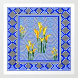Shades of Blue Yellow Calla Lily Art Art Print