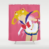 sailor moon Shower Curtains featuring Sailor Moon by Polvo
