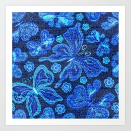 Neon Butterflies - Distressed Art Print