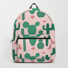 Green Cactus Shapes with Pink Cactus Flowers Backpack
