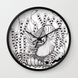 Zentangle Nautilus in the Ocean Illustration Wall Clock